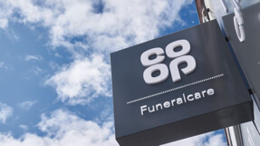 Exterior sign on a branch of Co-op funeralcare